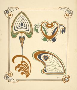 [Abstract design based on wings and leaf shapes.]