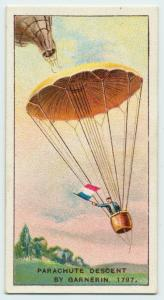 Parachute descent by Garnerin, 1797.