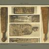 Fragments de bois sculptés ou incisés à usage de pied de quenouille, couteau et battoir.