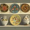 En haut, assiettes en bois peint, en bas, vases et plat en terre décorée.