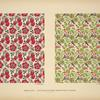 [Design based on red flowers; design based on green vegetal shapes.]