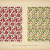 [Design based on red flowers; design based on green vegetal shapes.]