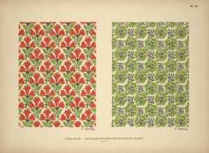 [Design based on red flowers and green leaves; design based on green vegetal shapes.]