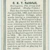 C. K. T. Faithfull, Harlequins, The Army, and England. (Rugby Union.)