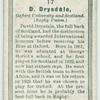 D. Drysdale, Oxford University and Scotland. (Rugby Union.)