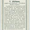 T. Clarkson, Leigh and England. (Northern Rugby League.)