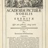 [Head-piece.] Academiæ Picturæ Nobilis atque eruditæ pars prima, [...]