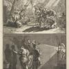 Plate. Top scene is group of men pointing out their shadows on the ground; bottom scene is artist using lamp to project shadows onto a wall.]