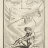 [Plate. Parts of skeleton, nude man pulling sock over leg.]