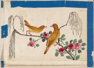 Birds of China. [Yellow birds on branch with pink flowers.]