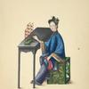 Woman seated at table, playing a shimianluo.]