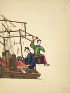 [One woman at a large loom, one woman beating a skein of silk with a mallet.]