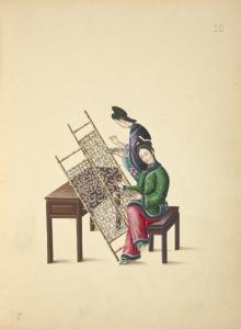 [Two women placing silkworms on bamboo screens.]