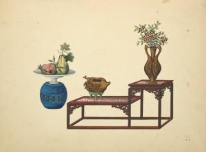 [Urn with dish, bi-level table with vases.]