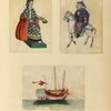 Two drawings of people included a man on horseback, one drawing of a boat.]