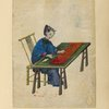 Drawing of a woman seated at a table, cutting cloth.]