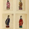 [Four drawings of women.]