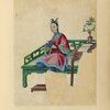 Drawing of a woman seated on a large green bench, holding a small cloth.]