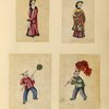 Two drawings of women, two drawings of boys, including one holding a large fish toy.]
