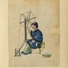 Drawing of a woman spinning thread on a wheel.]