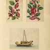 Two drawings of flowers, one drawing of a boat.]