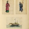 Two drawings of people (one holding an incense pot), one drawing of a boat.]