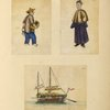 Two drawings of people, one drawing of a boat.]