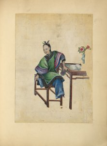 [Drawing of a woman seated at a table, putting on her shoe.]