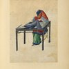 Drawing of a woman seated at a table, sewing [?] a cloth.]