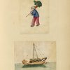 Drawing of a boy carrying a fish toy, drawing of a boat.]