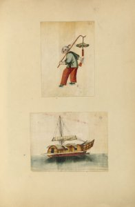 [Drawing of a boy, drawing of a boat.]