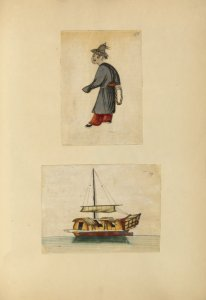 [Drawing of a man, drawing of a boat.]