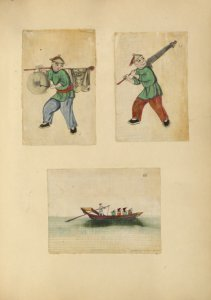 [Drawing of a man playing a drum, drawing of a man carrying an umbrella, drawing of a man on a barge.]