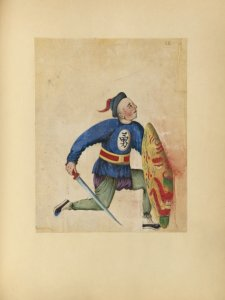 [Drawing of man with sword and shield.]