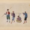 Two men carry a man in a basket.]