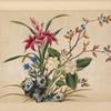 [Pink, white, and blue flowers, branch with blue berries.]