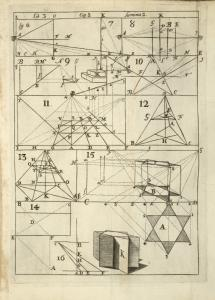 Lib. 3 Cap. 2 Lamina 2. [Diagrams of perspectives with geometric shapes.]