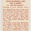 """Joan Blondell and Pat O'Brien in """"Off the record."""""""