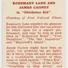 """Rosemary Lane and James Cagney in """"Oklahoma Kid."""""""