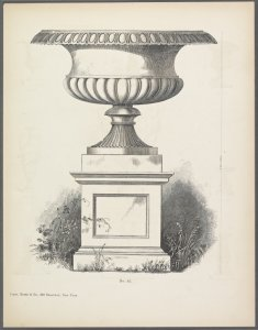 [Design of large footed basin with scalloped decoration on pedestal.]