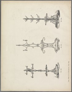 [Three designs of coatracks.]