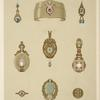 [Nine designs for jewelry, including pointed gold bracelet with red stone and diamonds.]