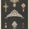 [Seven designs for jewelry, including tiara with red stone.]