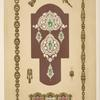 [Eight designs for jewelry, including pins with diamonds and green stones.]