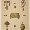 [Nine designs for jewelry, including gold bracelet with red stone.]
