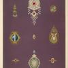 [Nine designs for jewelry, including pin with diamonds and red stones.]