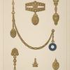 [Six designs for jewelry, including gold and blue pendant watch.]