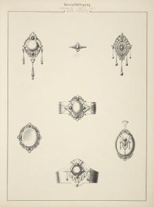 Lieferung III Blatt 7 Fg. C [Seven designs for jewelry with pearls.]