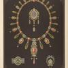 [Four designs for jewelry, including large necklace with pink stones.]