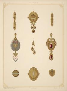 [Nine designs for jewelry, including gold brooch with green and red stones.]
